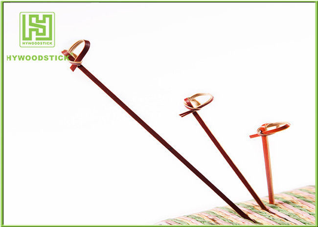 Red Bamboo BBQ Sticks Knotted Bamboo Skewers For Fruit 70 / 80 / 105 / 120mm
