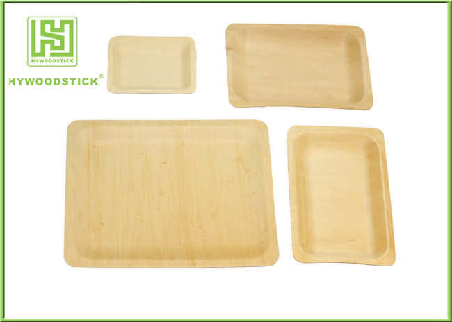 Birch Wood Square Disposable Plates , Disposable Rectangular Plates For Restaurant