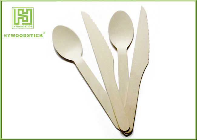 Biodegradable Bulk Wooden Disposable Cutlery 6.3'' Eco Friendly Flatware