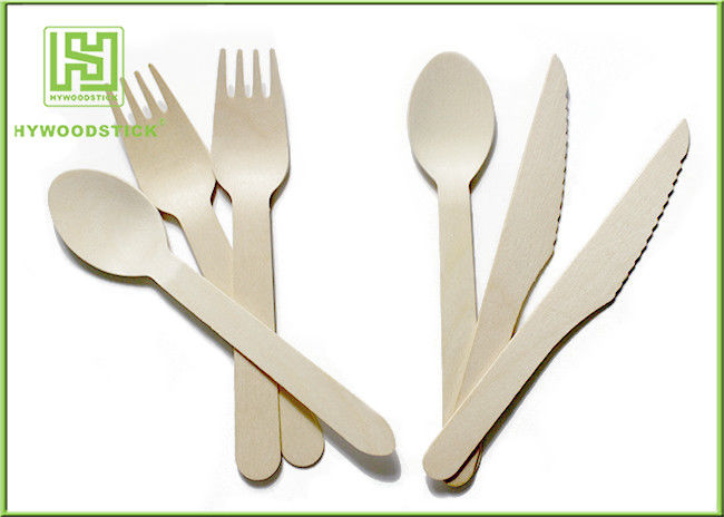 Food Grade Premium Birch Disposable Eco Friendly Wooden Cutlery Fork Knife Spoon