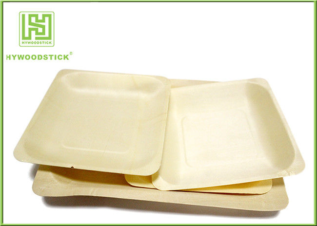 3.5 Inch Wooden Biodegradable Plates , Small Square Dinner Plates For Dessert